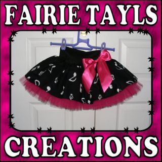 HANDMADE CHILDS BLACK HOT PINK MUSICAL NOTES TUTU SKIRT IRISH DANCE