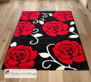 Black Red White Flower Designer Large & Medium Roses Pattern Home Rug