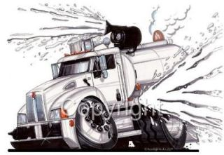 SEMI BIG RIG WATER TRUCK CARTOON T shirt #9325
