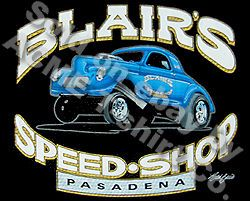 1940 Blairs Speed Shop T Shirt 40 Willys Vintage Hot Rod Shirt Sz M L