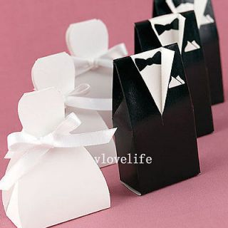 New 100 Tuxedo Dress Gown Wedding boxes Gift Favor Candy Chocolate Box