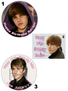 JUSTIN BIEBER PERSONALISED EDIBLE ICING / CAKE TOPPER   11 sizes