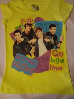 Girls BIG TIME RUSH T shirt Carlos James Kendall Logan ~ YELLOW ~ 6