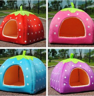 HOT Soft Strawberry Pet Dog Cat Bed House Kennel Doggy Warm Cushion