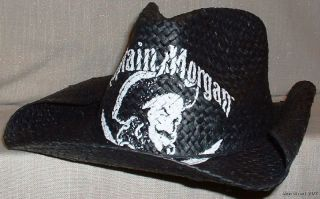 CAPTAIN MORGAN Logo Print Black Straw Cowboy HAT