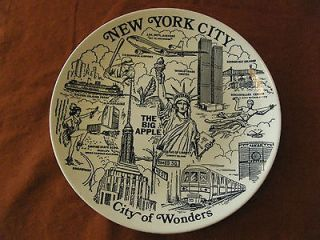 Plate New York City, The Big Apple, W/ Twin Towers World Trade Center