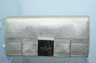 Kate Spade Shannon Primrose Hill Gold Metallic Leather Bifold Wallet