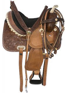 New 14 Billy Youth Hand Carved Western Barrel Racing Horse Leather