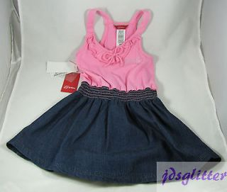 GUESS KIDS Girls Pink & Denim Ciara Logo Dress NWT