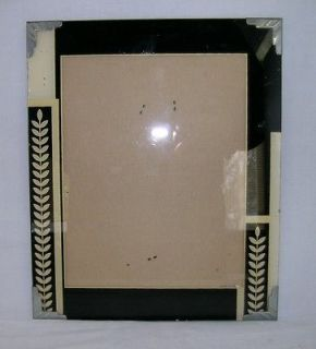 Vintage Art Deco reverse painted glass picture frame Gold/Black 10X12