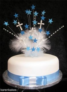 BLUE CHRISTENING / FIRST HOLY COMMUNION CAKE TOPPER WITH DIAMANTE