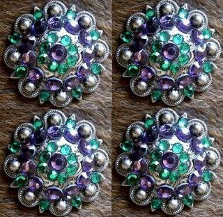 BERRY CRYSTALS BLING CONCHOS HORSE SADDLE HEADSTALL GREEN PURPLE