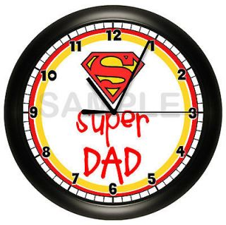 SUPER DAD WALL CLOCK FATHERS DAY DADDY GIFT SUPER MAN