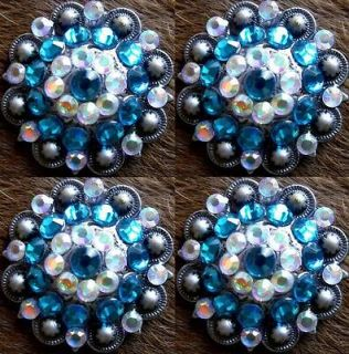 BERRY CRYSTALS BLING CONCHOS HORSE SADDLE HEADSTALL TURQUOISE AB