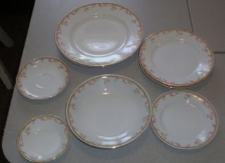 LOT 9CZECHOSLOVAKIAN CHINA ROYAL EPIAG 2 DINNER,2 DESERT,2 SOUP