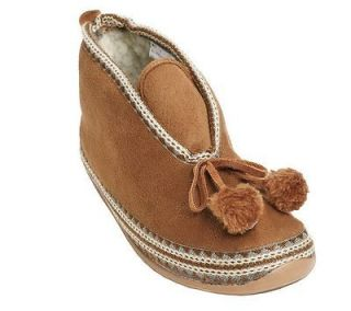 Deer Stags MUTSY Slipperooz In/Outdoor pom pom Tassel Bootie Slipper