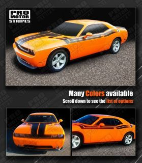 Dodge Challenger Hood & Fender to Side Dual Stripes 2011 2012 2013 Pro
