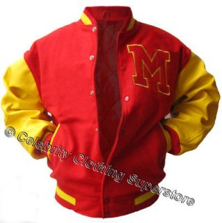 Michael Jackson  Varsity Leather Sleeves Jacket   L