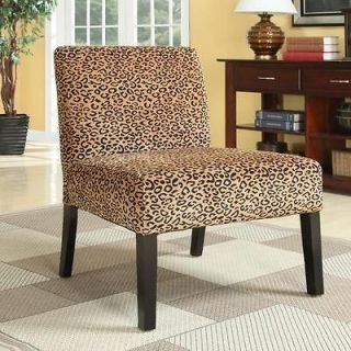 Dark Wood Leopard Print Accent Chair
