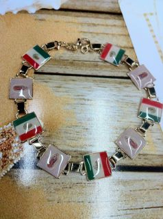 Virgen de Guadalupe with Mexican Flag 18K Gold Plated Bracelet