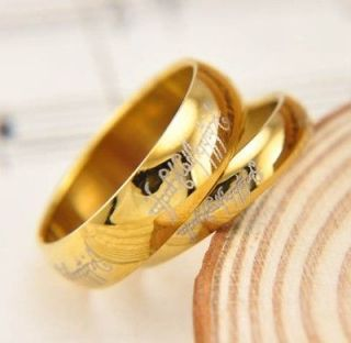 Size 5 11 LOTR Mens Womens Gold Titanium Band Ring Gift For Love Width
