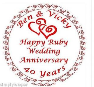 1x Ruby Wedding Anniversary Personalised Icing Cake Topper party