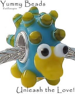 YUMMY PORCUPINE MURANO GLASS ANIMAL BRACELET BEAD CHARM ~ STERLING