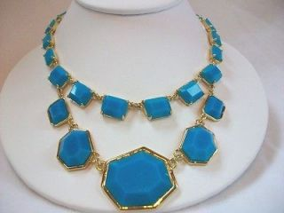 Kate Spade Mulholland Turquoise Gold Bib Short Necklace NWT