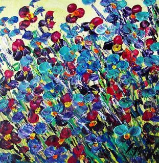 Original Painting PANSY FLOWERS Modern Palette Impasto OIL Art by