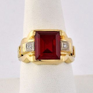 Modern Period 10k Rose Solid Gold Accents Diamond Ruby Mens Ring