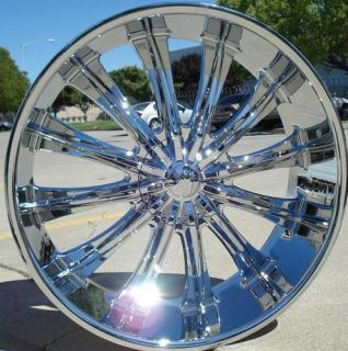 24 INCH WHEELS RIMS CHROME BW15 6X135 +30 LINCOLN MARK LT 2004 2005