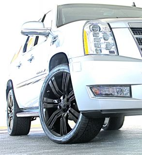 2013 Cadillac Escalade 24 Wheels Rims Phantom Black Finish 2007 2009