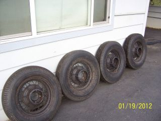 Ford Spoke Rims Hot Rod with tires 600 by 16 inch Model A early V8 5
