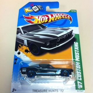 2012 Hot Wheels Treasure Hunt 67 Custom Ford Mustang XLNT Condition