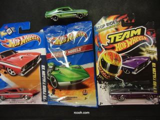 Hot Wheels 2012 73 Ford Falcon XB  Purple, Green (Mystery), Red