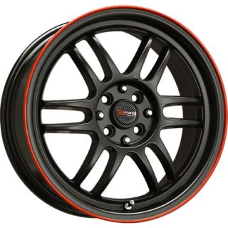 DR21 Flat Black w Red Lip 15 Rims 4 Lugs Wheels 40 OS