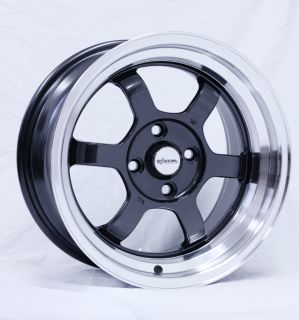 Chikara RS6 Gunmetal Wheels 15x8 3 Rim Polish Machined Lip JDM Flush
