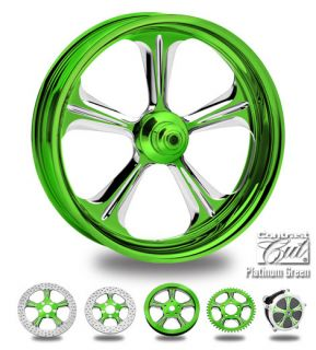 Custom Color Rims 21 Wheel Package for Harley Green Platinum