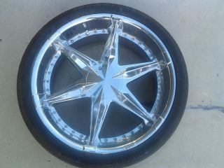 24 INCH STATUS PREDATORS CHROME WHEELS AND TIRES 24X10 215 RIMS OFF