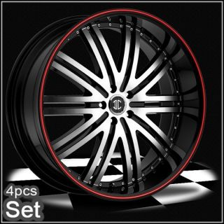 22 Wheels Rims 300C Magnum Charger Challenger Camaro Red Ring
