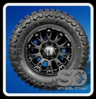 18 XD800 Misfit Black Rims with 33x12 50x18 Toyo Open Country MT