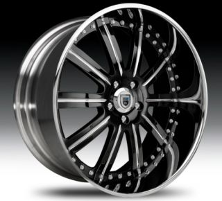 24 asanti AF134 Black Chrome Wheels Rims 2 Piece Tone