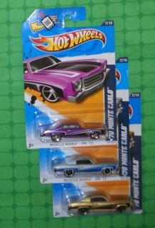 2012 Hot Wheels Muscle Mania GM 107 70 Monte Carlo 3 Variations