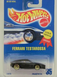Hot Wheels 1991 Blue Card Ferrari Testarossa 35 Black
