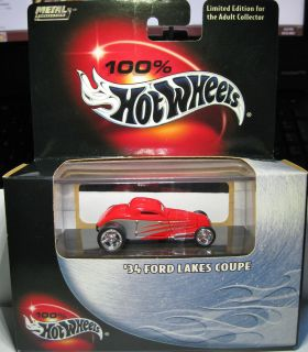 HOT WHEELS 100 LIMITED EDITION 1934 34 FORD LAKES COUPE LAKEBEDS RACER