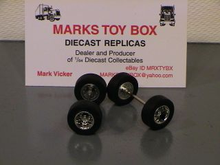 WHEELS DCP LOT OF 2 SUPER SINGLES TIRE AXLES   CUSTOM SEMI TRUCK CAB