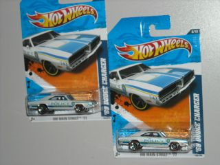 hot wheels 2011 69 dodge charger/ red lines/ police, lot of 2 vehicles