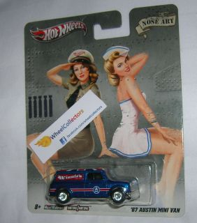 67 Austin Mini Van Pin Up Nose Art Nostalgia D Case Hot Wheels 2012