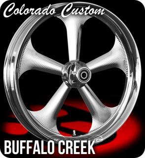 Chrome 26 x 4 0 Buffalo Wheels Tires Harley FLH FLHR FLHX