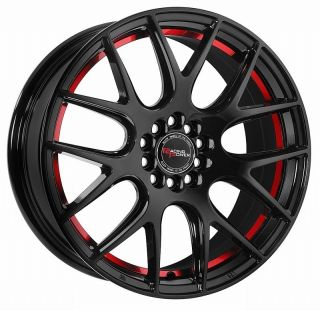 5x114 3 Black Red Racing Power TH227 Wheels Rims 5 Lug 17x7 5